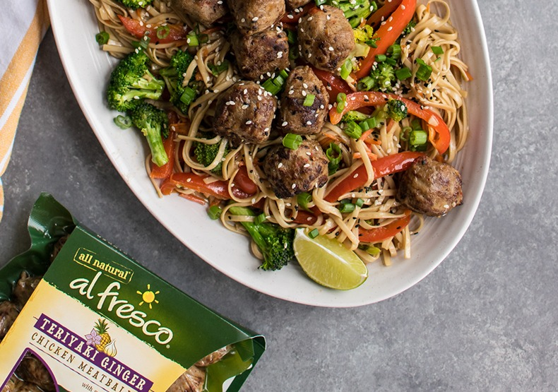 Stir Fried Noodles with Teriyaki Chicken Meatballs