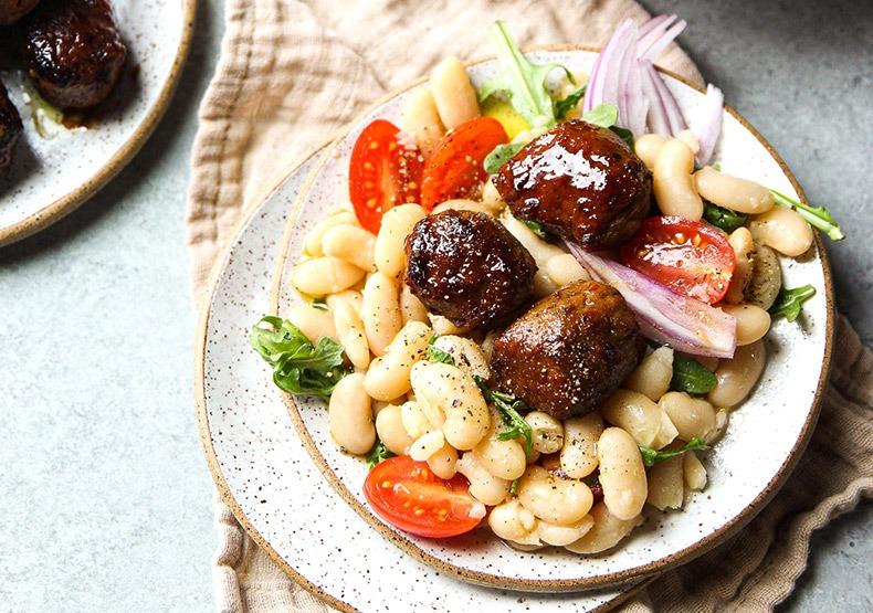 Chicken Meatballs Cannellini Salad