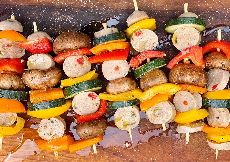Grilled Chicken Sausage and Veggie Kabobs