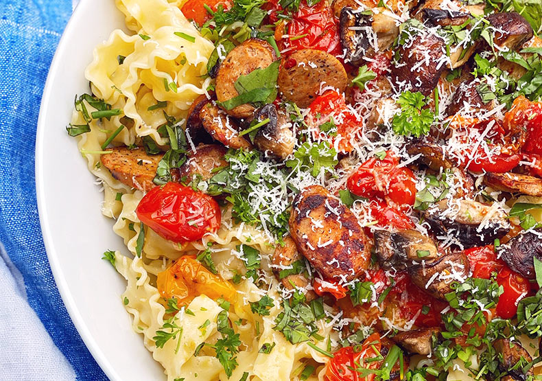 Grilled Tomato and Chicken Sausage Pasta