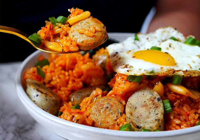 Kimchi Fried Rice with Roasted Garlic Chicken Sausage