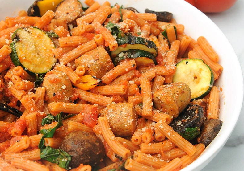 Chicken Sausage Pasta with Grilled Veggies