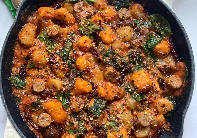 Healthy Chicken Sausage & Gnocchi Skillet