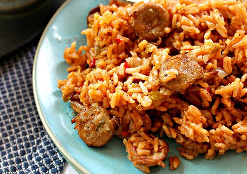 Arroz Con Salchicha (Chicken Sausage & Rice Skillet)