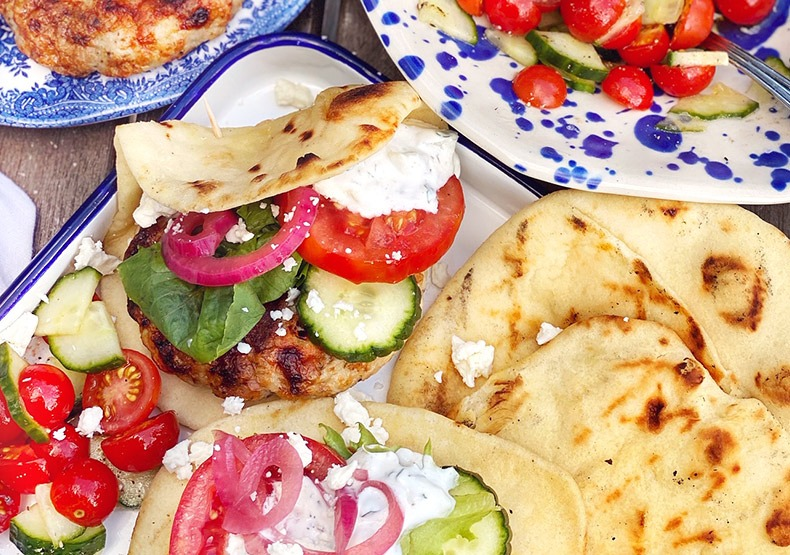 Greek Chicken Burgers in a Pita Pocket