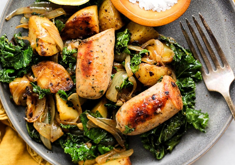 Chicken Sausage, Potato and Kale Skillet