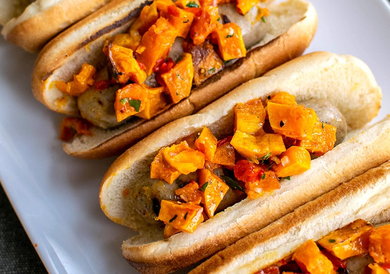 Grilled Chicken Sausages with Butternut Squash Relish