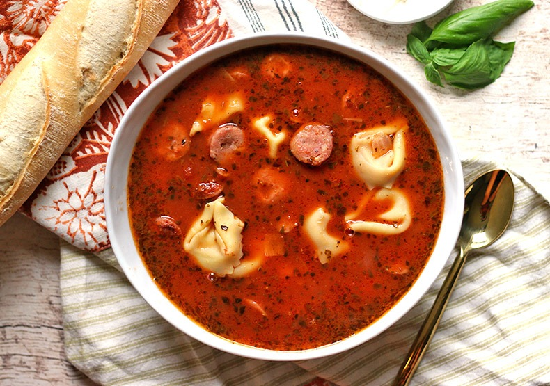 5 Ingredient Tomato Basil Chicken Sausage Tortellini Soup