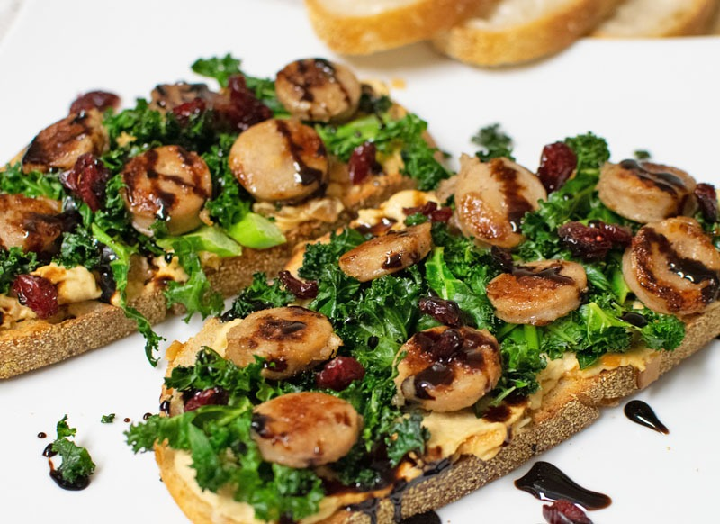 Kale and Apple Sausage Toast with Balsamic Glaze