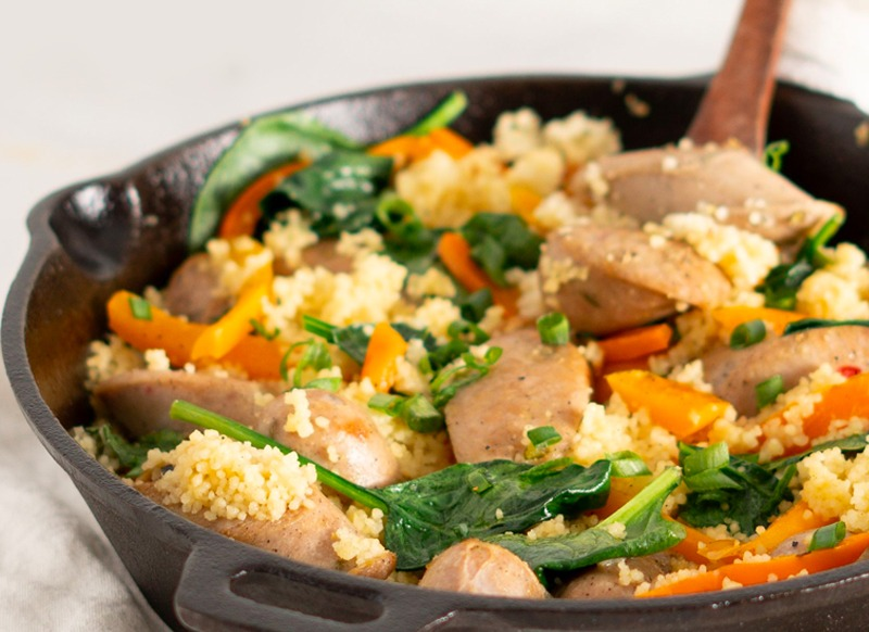 Skillet chicken sausage with couscous