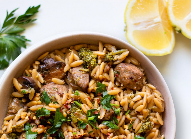 Creamy Orzo with Vegetables and Chicken Sausage