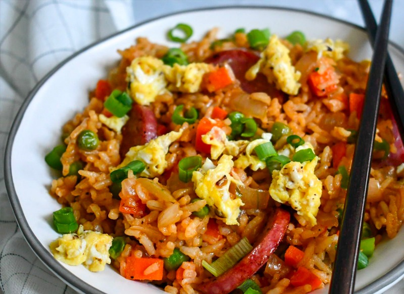 Skillet Fried Rice with Chicken Sausage