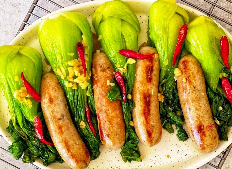 Sweet Italian Chicken Sausage with Spicy Garlic Bok Choy