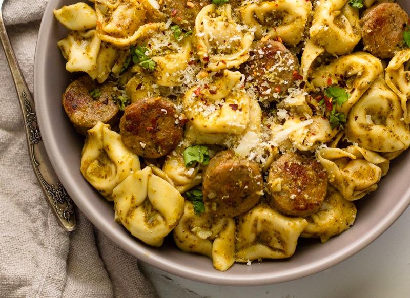 Chicken Sausage Pesto Tortellini Skillet