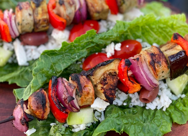 Greek Salad Boats with Chicken Sausage Kabobs