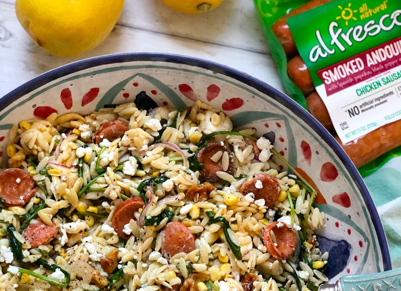 Lemony Orzo Salad with Chicken Sausage and Goat Cheese