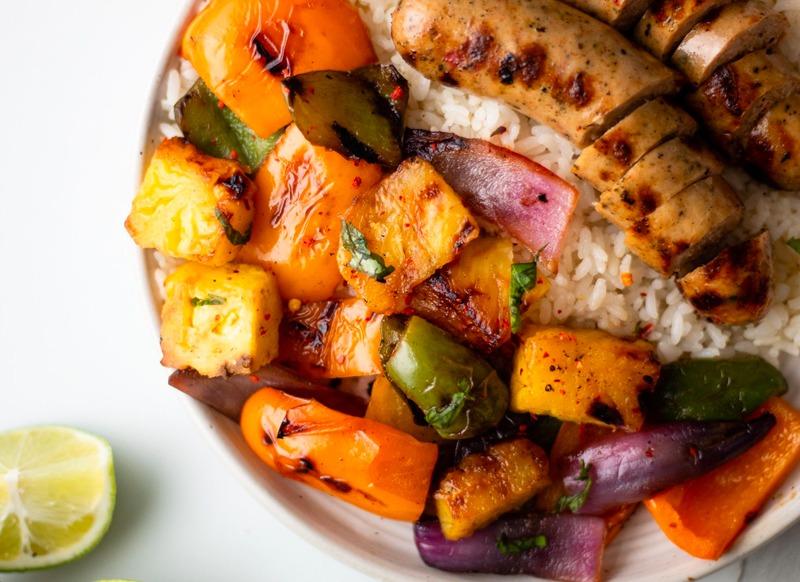 Grilled Hawaiian Chicken Sausage and Veggies