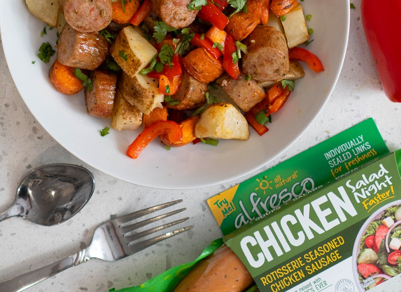 Air Fryer Sausages, Peppers, Potatoes & Carrots Recipe