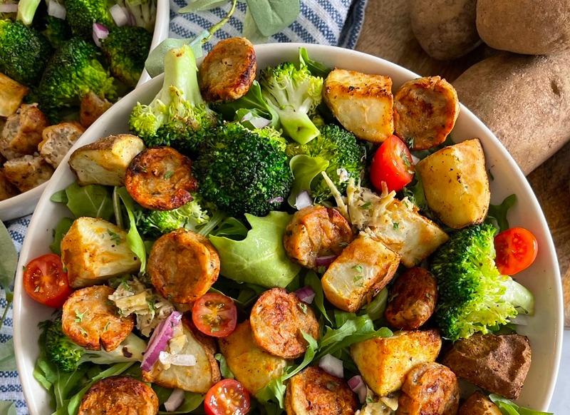 Air Fryer Chicken Sausage, Potato and Veggie Power Bowl