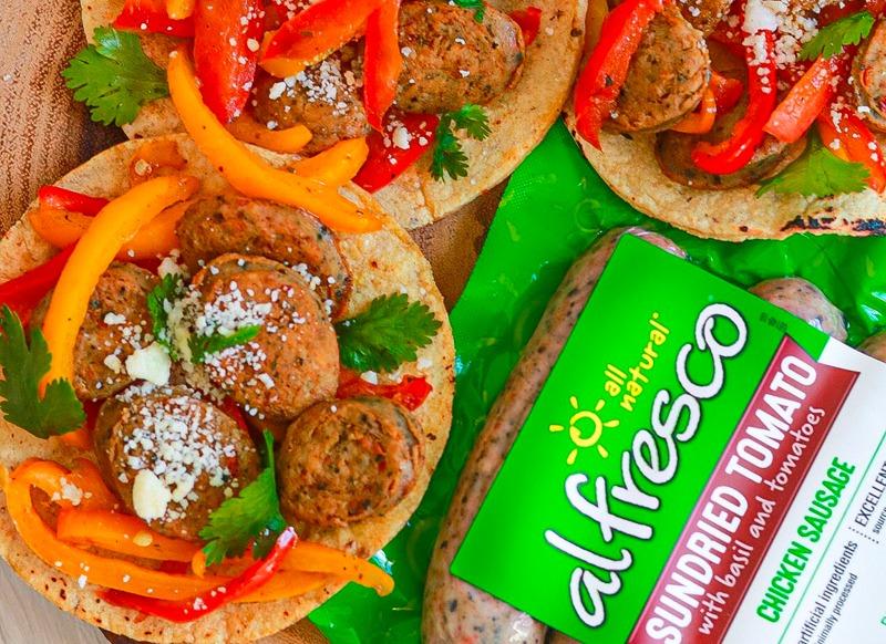 Chicken Sausage Fajitas Style Tacos