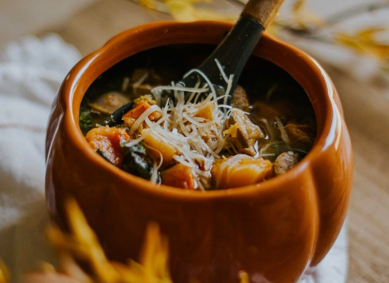 Harvest Squash Soup with Chicken Sausage