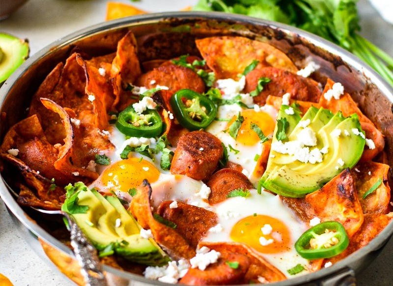 Chilaquiles with Chicken Sausage